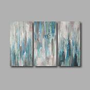 Pintada a mano Abstracto / Paisaje Pinturas de óleo,Modern Tres Paneles Lienzos Pintura al óleo pintada a colgar For Decoración hogareña