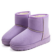 Mujer-Tacón Plano-Confort Botas de Nieve-Botas-Exterior Informal-Vellón-Negro Marrón Rosa Morado Gris Beige
