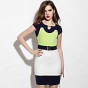 Mujer Línea A / Vaina Vestido Casual/Diario / Noche Simple / Chic de Calle,Un Color Escote Redondo Sobre la rodilla Manga Corta Verde