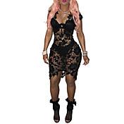 Mujer Corte Bodycon Vestido Noche / Fiesta/Cóctel / Discoteca Sexy,Un Color Escote en Pico Asimétrico Sin Mangas Negro PoliésterVerano /