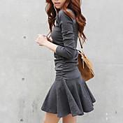 Feminino Rodado Vestido,Casual Moda de Rua Sólido Decote Redondo Mini Manga Longa Algodão Primavera Outono Inverno Cintura BaixaCom