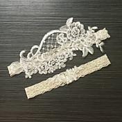 ガーター サテンストレッチ レース 花形 人造真珠 アイボリー