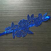 Strømpebånd Strækbart Satin Blonde Blomst Blå
