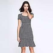 Vintage / Jednoduché Pouzdro Šaty Pepito,Krátký rukáv Hranatý Délka ke kolenům Černá Polyester Jaro Mid Rise Lehce elastické