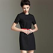 女性 シンプル ワーク シース ドレス,ソリッド ラウンドネック 膝上 半袖 ホワイト / ブラック / ブラウン ポリエステル 夏 ミッドライズ 伸縮性なし ミディアム