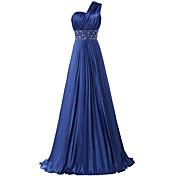 A-line en skulder gulvlængde satin formelle aften kjole med beading pletter