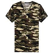 男性用 カモフラージュ カジュアル / スポーツ Tシャツ,半袖 コットン,グリーン / グレー