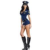 Disfraces de Cosplay Ropa de Fiesta Policía Disfraces carrera Festival/Celebración Disfraces de Halloween Azul Piscina Un Color Vestido