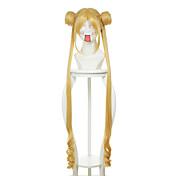 Mujer Pelucas sintéticas Sin Tapa Largo Liso Amarillo Raya en medio Con flequillo Con coleta Peluca de cosplay Peluca de Halloween Peluca
