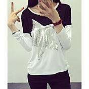 女性 カジュアル/普段着 秋 Tシャツ,シンプル ラウンドネック 幾何学模様 マルチカラー コットン 長袖 ミディアム