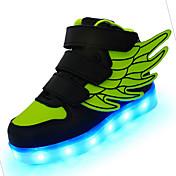 Para Niño-Tacón Bajo-Confort Light Up Zapatos-Zapatillas de deporte-Exterior Deporte Informal-Cuero-Negro Azul Rosa Rojo Blanco Verde