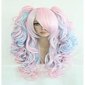 ファッション70センチメートル長い青の混合ピンクの波状ポニーテール高品質の合成ロリータパーティーコスプレウィッグ