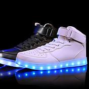 Unisex Zapatillas de deporte Confort Zapatos con luz Cuero Primavera Verano Otoño Invierno Deportivo Casual LED Tacón BajoBlanco Negro