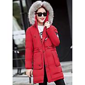 Abrigo Regular Acolchado Mujer Simple Casual/Diario,Un Color Algodón Polipropileno Manga Larga,Rojo / Verde