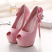 女性-ドレスシューズ / パーティー-スエードプラットフォーム-ヒール-ブラック / ピンク