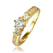 指輪 キュービックジルコニア ゴールドメッキ 18K 金 ゴールド ジュエリー 結婚式 パーティー 日常 カジュアル 1個
