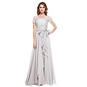 una línea de cuello cuadrado piso madre de la gasa de la longitud del vestido de la novia con rebordear arco (s) por xfls