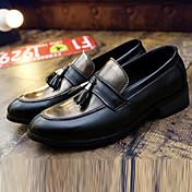 HombreConfort-Zapatos de taco bajo y Slip-Ons-Casual-PU-Marrón / Rojo / Oro