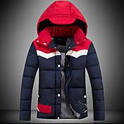 コート レギュラー パッド入り 男性,プラスサイズ カラーブロック ポリエステル ポリエステル-シンプル 長袖 フード付き レッド