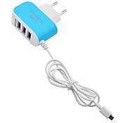 Brzo Charge / Multi-Luka Početna punjač / Prijenosni punjač EU Plug 3 USB porta sa kabelom za mobitel(5V , 3.1A)