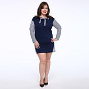 Mujer Camiseta Vestido Casual/Diario Tallas Grandes Simple,Un Color Escote Redondo Sobre la rodilla Manga Larga Algodón Tiro Medio