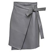 女性 スカート-ペンシルベイト ゼブラプリントカジュアル/普段着 ミッドライズ 膝上 弾性 PU 非弾性 秋