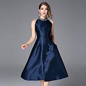 Mujer Línea A Vestido Casual/Diario Simple,Un Color Escote Chino Midi Sin Mangas Azul / Rojo Algodón / Poliéster Otoño Tiro Medio Rígido