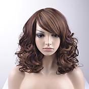 Mujer Pelucas sintéticas Sin Tapa Medio Suelto Marrón Pelo reflectante/balayage Parte lateral Corte Bob Con flequillo Peluca natural