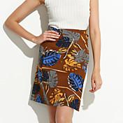 婦人向け シンプル 膝上 スカート,コットン 伸縮性なし