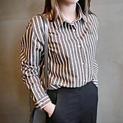 ポロネックシンプルな野生ストライプ長袖の綿のシャツブラウスの韓国語バージョン