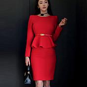 Mujer Corte Bodycon Vestido Casual/Diario Simple,Un Color Escote Redondo Sobre la rodilla Manga Larga Rojo Poliéster Otoño Tiro Medio