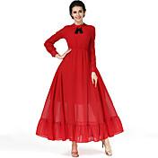 新しい赤いドレス文学レトロなハイウエストは薄い長袖ラインのドレスでした