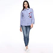 Mujer Simple Casual/Diario / Tallas Grandes Otoño Camisa,Cuello Camisero Bordado Manga Larga Algodón Azul