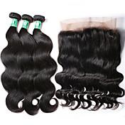 Cabello humano Cabello Brasileño Trama del pelo con cierre Ondulado Grande Frontal 360º Extensiones de cabello 4 Piezas Negro