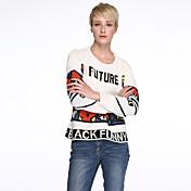 Mujer Regular Pullover Casual/Diario Bonito,Estampado Blanco Negro Escote Redondo Manga Larga Otoño Grueso Microelástico