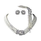 Feminino Conjunto de Jóias Pérola Casamento Europeu Pérola Imitações de Diamante 1 Colar 1 Par de Brincos Para Casamento DiárioPresentes