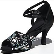 Zapatos de baile(Negro) -Latino-Personalizables-Tacón Carrete