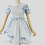 Una Sola Pieza/Vestidos Amaloli Princesa Cosplay Vestido  de Lolita Floral Manga Corta Hasta la Rodilla Vestido por Algodón