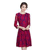 2017初秋新しい女性は色の赤いレースのドレススリムワードスカートラウンドネックのドレスのスカートの長いセクションを綴ります