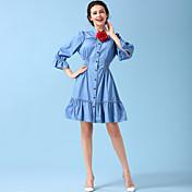 オリジナルデニムワンピース宮殿ティン別名スリムスカート蓮の葉の襟スカートスーツ抗SAI