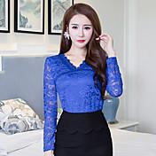 muestra mujeres blusa de encaje nuevo otoño 2016&# 39; s encaje de la moda camisa de manga larga camisa de gran tamaño delgado