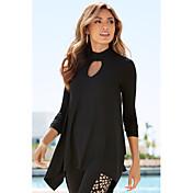 アマゾンAliexpressの貿易爆発モデル2016新しい女性' sの不規則な襟長袖Tシャツ