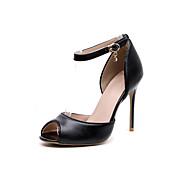 Three Seasons® Mujer-Tacón Stiletto-Tira en el Tobillo-Tacones-Vestido Fiesta y Noche-Cuero-Negro