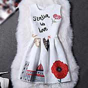 De las mujeres Vaina Vestido Chic de Calle Floral Sobre la rodilla Escote Redondo Poliéster