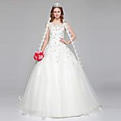 Corte en A Escote de ilusión Hasta el Suelo Encaje Tul Vestido de novia con Cuentas Encaje por LAN TING BRIDE®
