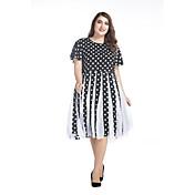 女性 ストリートファッション プラスサイズ シフォン ドレス,水玉 ラウンドネック 膝丈 半袖 ブラック スパンデックス 春 ミッドライズ マイクロエラスティック 薄手