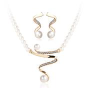 Šperky Set Křišťál Perly Napodobenina perel Štras imitace Diamond Slitina Zlatá Svatební Párty Ležérní 1Nastavte1 x náhrdelník 1 x pár