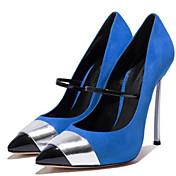 Mujer-Tacón StilettoTacones-Oficina y Trabajo Informal Fiesta y Noche Vestido-Semicuero-Rojo Azul