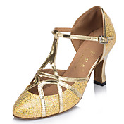 Zapatos de baile(Plata Oro) -Latino-Personalizables-Tacón Carrete