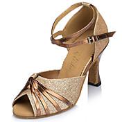 Zapatos de baile(Azul Oro) -Latino-Personalizables-Tacón Carrete